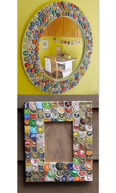 se trata de marcos decorados con tapitas de cerveza son ideas muy utiles y originales para decorar ambientes de fiestas o con onda vintage o bares