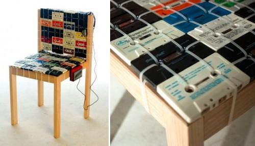 Ideas para reciclar: Silla vintage hecha con casetes reciclados ...