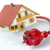 Model house with red plug