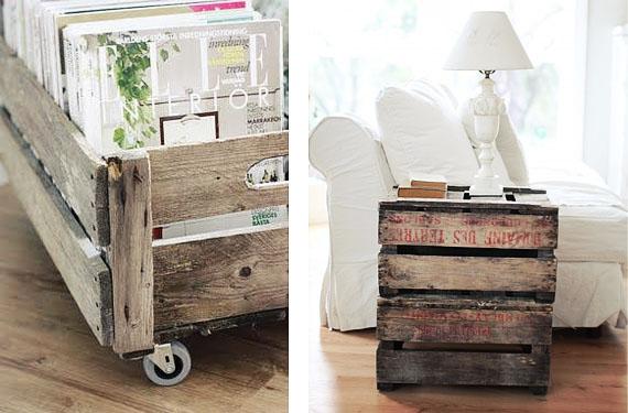 con cajas de fruta recicladas