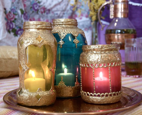 vidriootivos o linternas marroquies con fracos de vidrio reciclados manualidades decoracion5