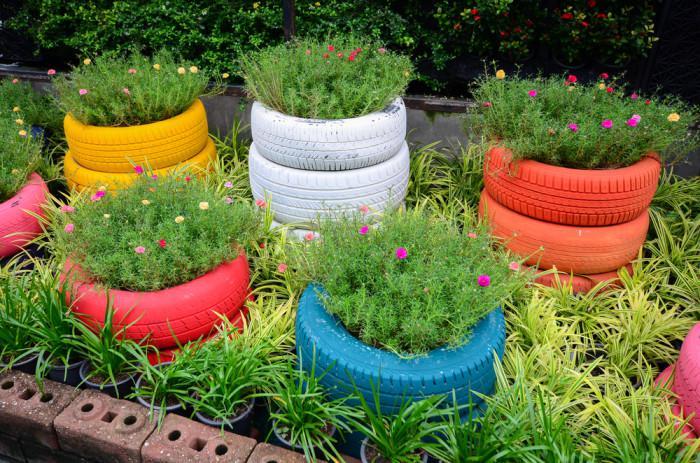 Jardineras con neum ticos paso a paso ecolog a hoy - Jardineras de colores ...