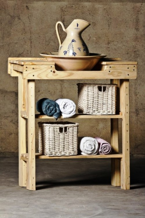 Ideas para decorar el ba o con muebles de palets - Reciclar palets para muebles ...