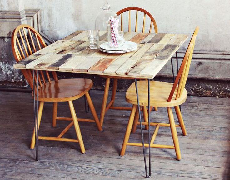 Ideas de mesas recicladas hechas con palets para el - Como hacer una mesa de comedor ...