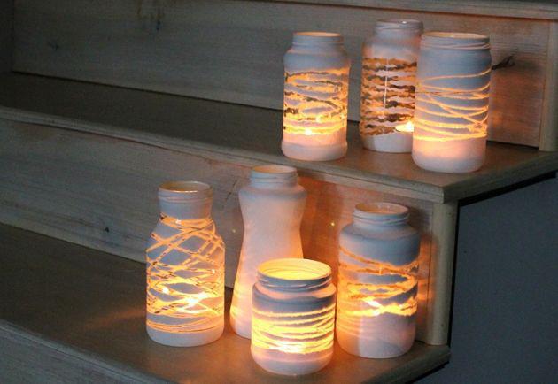 Frascos de vidrios reciclado para decorar en navidad:   30 ideas ...