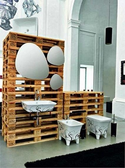 Ideas Originales Para Decorar El Baño:Ideas para decorar el baño con muebles de palets reciclados