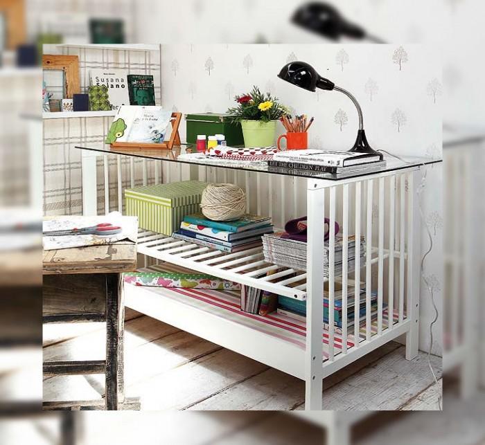 cuna,convertida,escritorio,reciclado