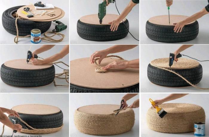 como realizar una mesa o taburete con una llanta y lazo de yute o henequen paso a paso ideas para reuso de neumaticos decoracion y mobiliario