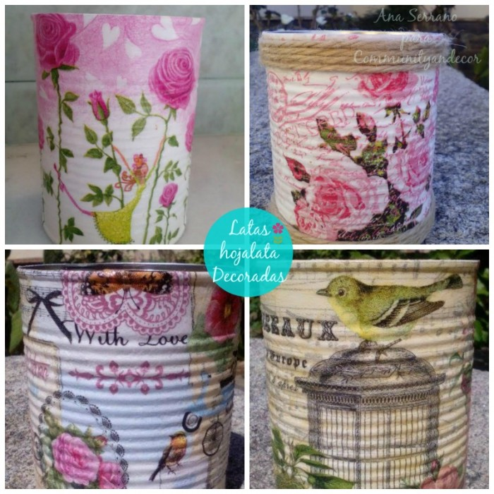 latas recicladas decoradas collage
