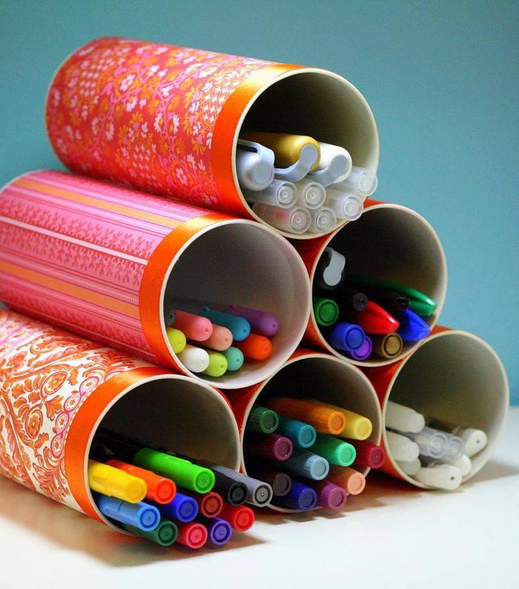reuso de tubos de carton de papas pringles o empaques como lapiceros y organizadores de oficina paso a paso