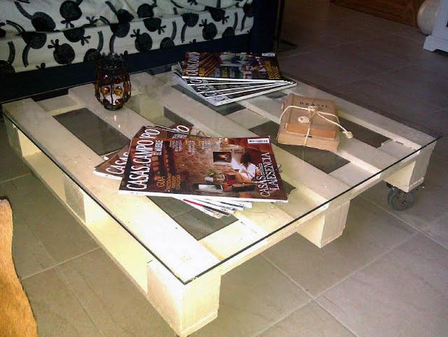 Imagenes con ideas para hacer muebles con palets para el - Mesa centro palet ...