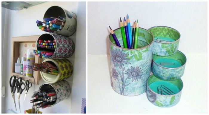 40 ideas en im genes para reciclar latas de conservas for Lapiceros reciclados manualidades