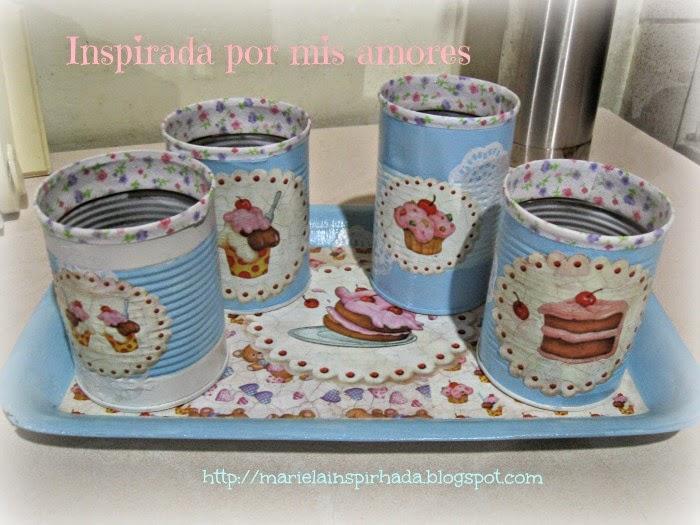 latas y bandeja decoradas set cocina reciclado decoupage papel cupcakes