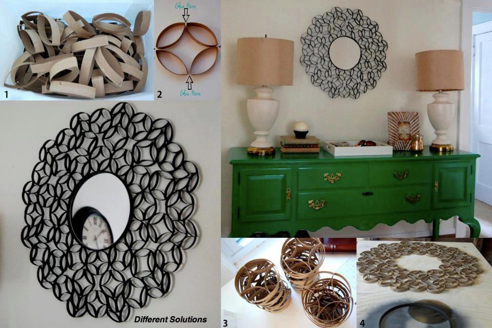 tips de decoración con materiales de reuso espejo con rollos de papel higienico paso a paso