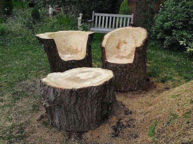 Bancos y sillas hechos con troncos, Ideas super originales para