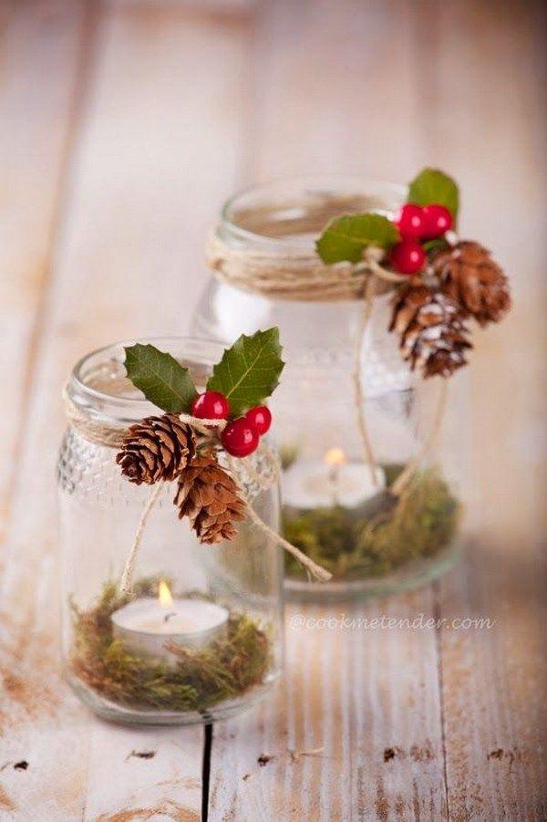 Decoraci n navide a con papel frascos pi as telas y - Adornos de mesa navidenos ...