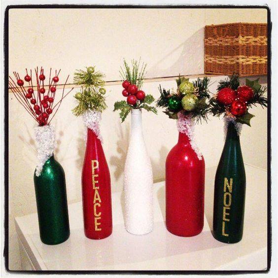 Decoraci n navide a con papel frascos pi as telas y for Adornos navidenos reciclados botellas