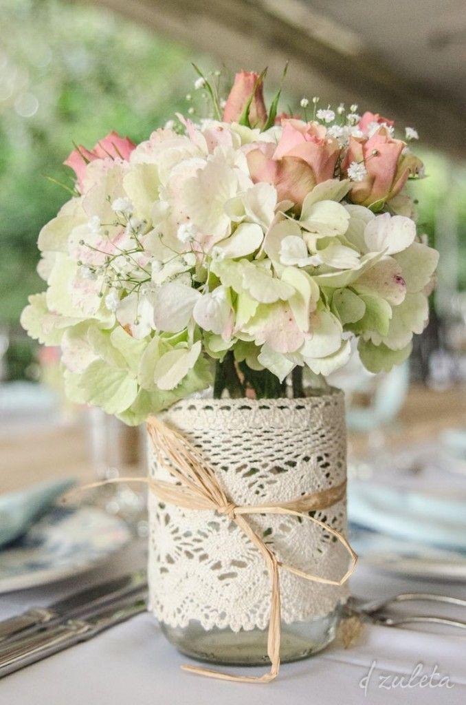 Centros De Mesa Para Casamiento Con Botellas Frascos Y Flores