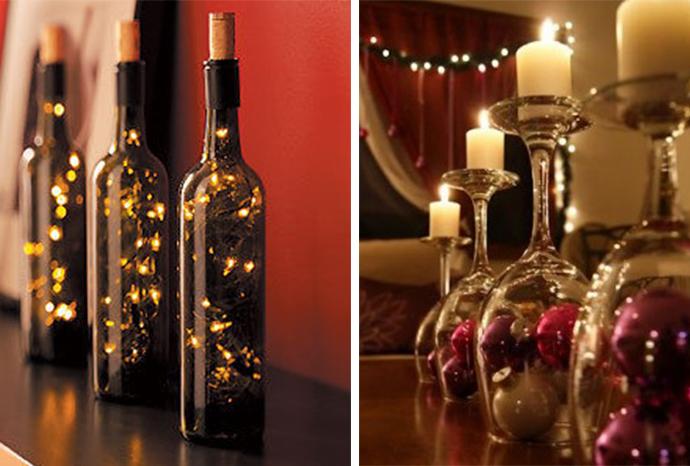 Centros de mesa navide os con materiales reciclados - Centros navidenos con velas ...