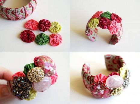 brazalete o pulsera imitacion Anthropologie manualidades moda costura retazos reciclaje reciclar reciclado barato ahorro facil rapido4