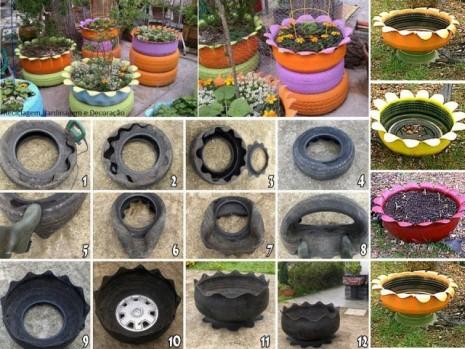 Jardineras con neum ticos paso a paso ecolog a hoy - Jardineras con ruedas ...