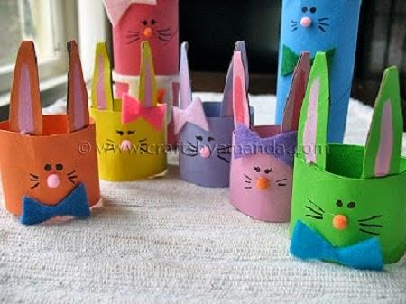 conejos de pascua con tubos de papel reciclado7