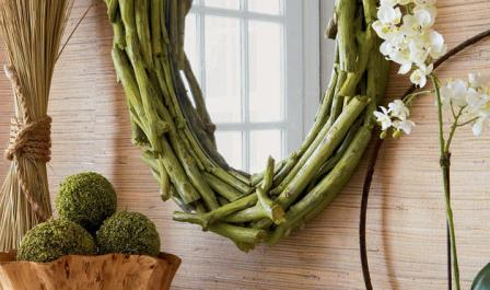 espejos con ramas naturales