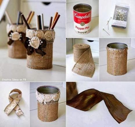 Porta Objetos con Yute y Lata Reciclada, Manualidades Faciles Paso a Paso