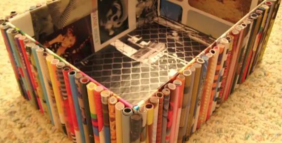 Objetos decorados con cañas de revista manualidades papel decoracion decorar reciclar reciclaje reciclado facil barato ahorro rapido3