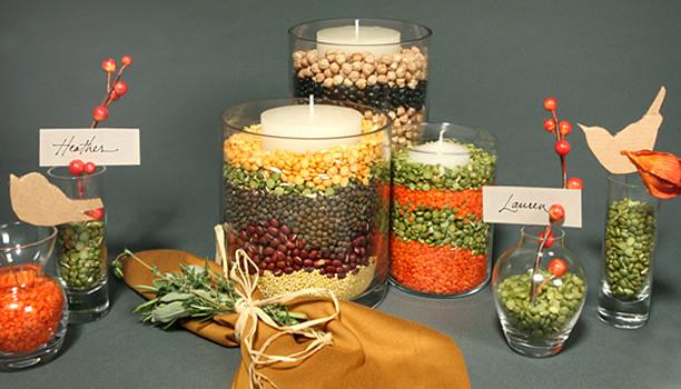 Centros de mesa con granos de legumbres 7