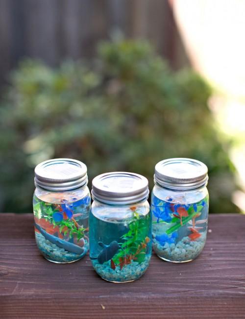 Que puedo hacer con vidrio 24 ideas para reciclar vidrio - Peceras pequenas decoradas ...