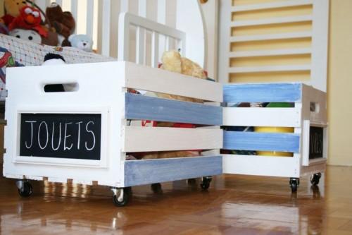 Reciclar cajones de verdura para guardar juguetes for Diseno de muebles con cajones de verduras