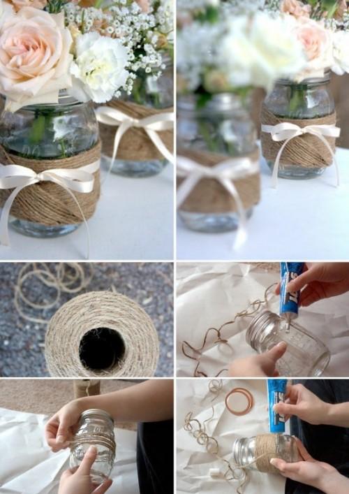 Reciclar frascos de vidrio centros de mesa hermosos para for Reciclar botes de cristal decoracion