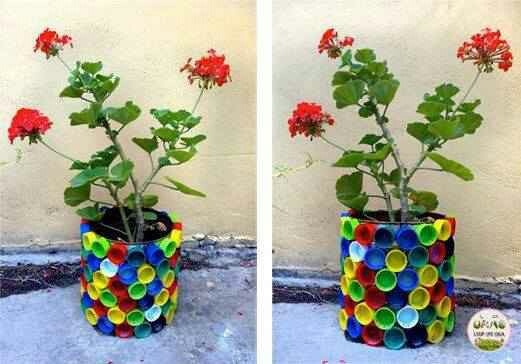 60 ideas incre bles para reciclar macetas de pl stico for Jardines con objetos reciclados