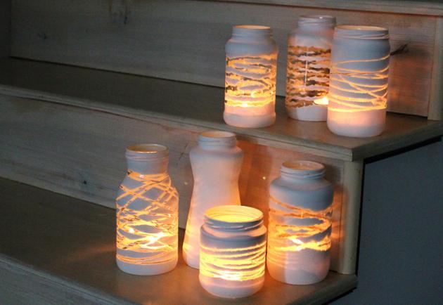 Vidrioelas hechas con frascos de vidrio