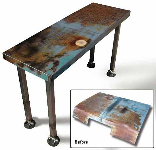 Arte con metal reciclado ideas para reciclar basura de for Muebles reciclados de diseno
