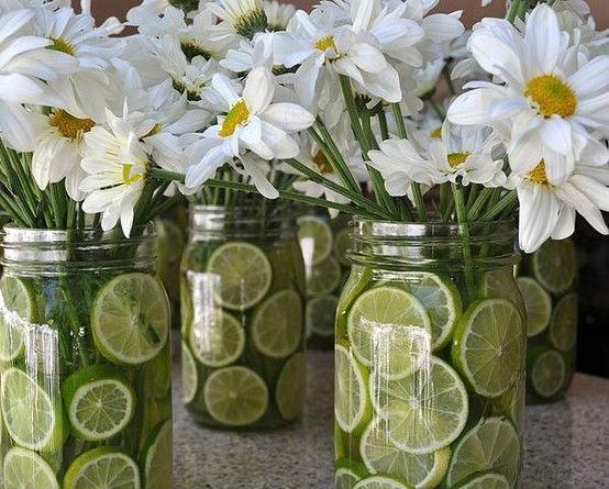 Centros de mesa para primera comuni n con frascos de - Centros de mesa con limones ...