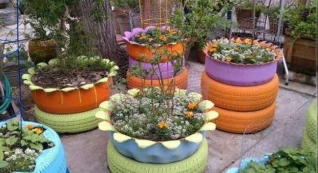 Jardineras con neumticos Paso a paso Ecologa Hoy