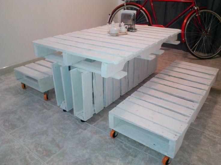 Ideas de mesas recicladas hechas con palets para el - Mesas de madera hechas a mano ...