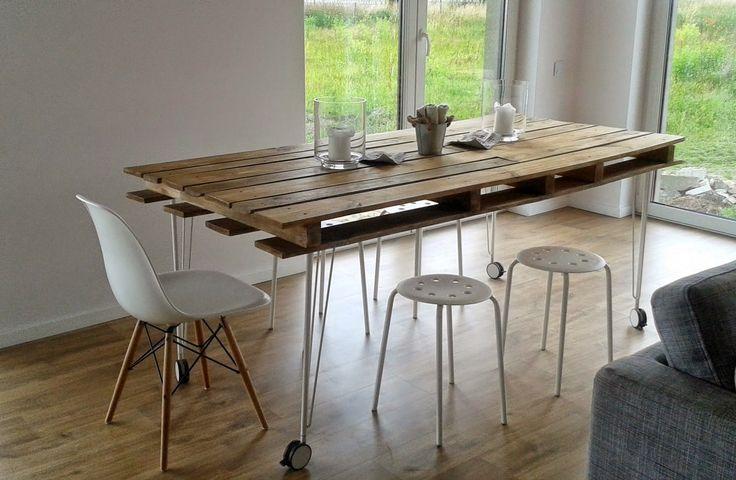 Ideas de mesas recicladas hechas con palets para el for Como hacer una mesa de comedor