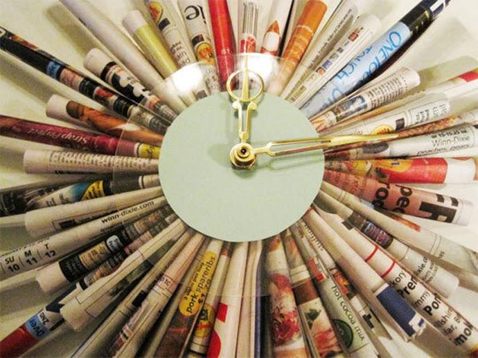 Como Hacer un Reloj con Papel Reciclado7