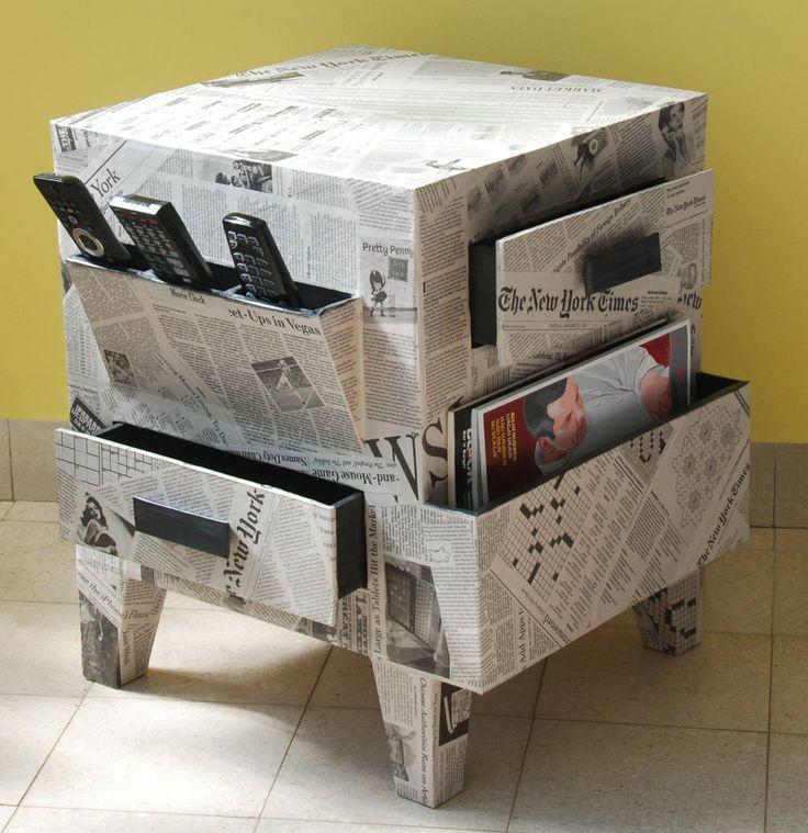 C mo reciclar papel de diario y hacer cosas para la casa - Reciclar muebles antiguos ...