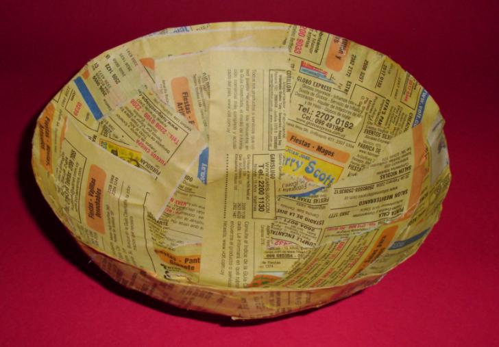 bowl cesta tazon panera de papel reciclado manualidades reciclaje reciclar guias telefonicas periodicos diarios decoracion decorar barato ahorro facil4