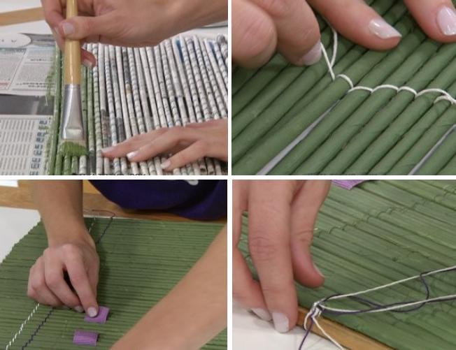 cortinas persianas separador de ambientes con papel de diario reciclado reciclar reciclaje manualidades decoracion decorar facil barato ahorro2