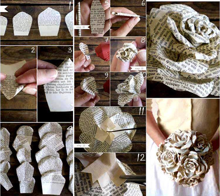 flores de papel revista o periodico como hacer una rosa reutilizando materiales paso a paso tutorial