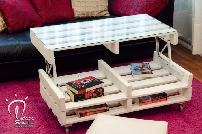 Ideas hechas con palets para el comedor ideas de mesas for Mesa palets ruedas