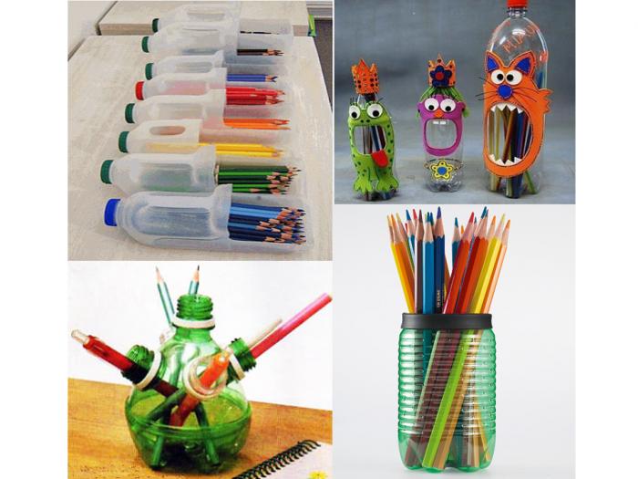 Porta-lapices-con-botellas-de-plastico-recicladas