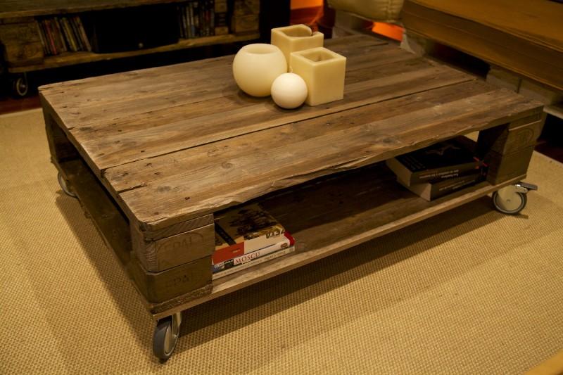 Imagenes con ideas para hacer muebles con palets para el for Mesa de centro de palet