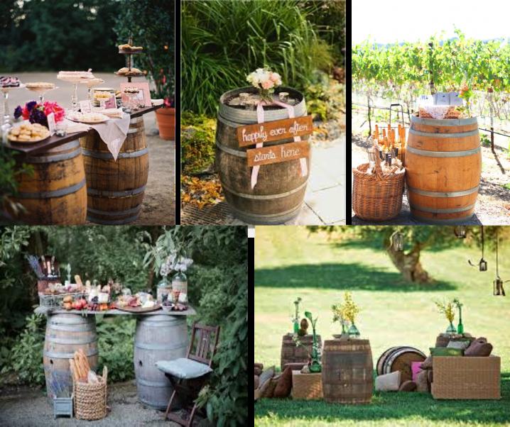 Barriles y barricas para decorar una boda