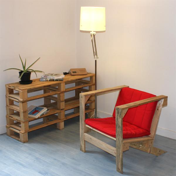 Mesa de living hecha con palets